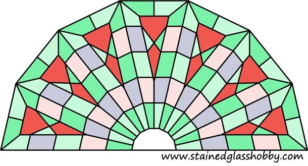 stained glass half round panel kaleidoscope design