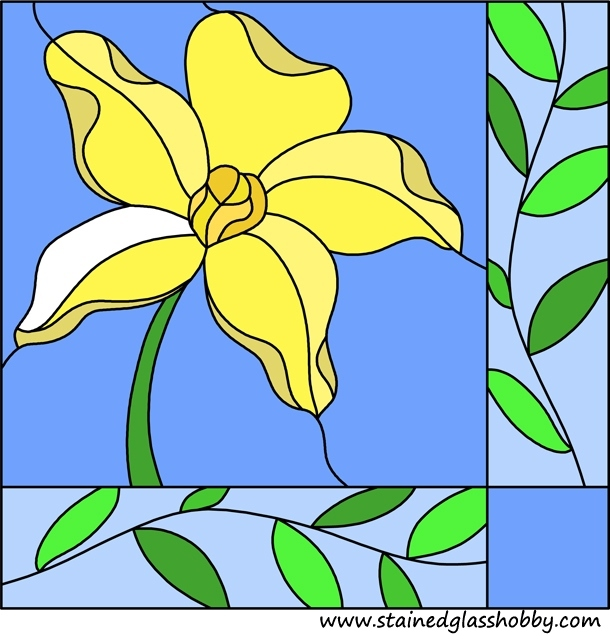 stained glass flower square panel