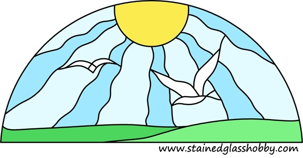 Sun and birds stained glass design