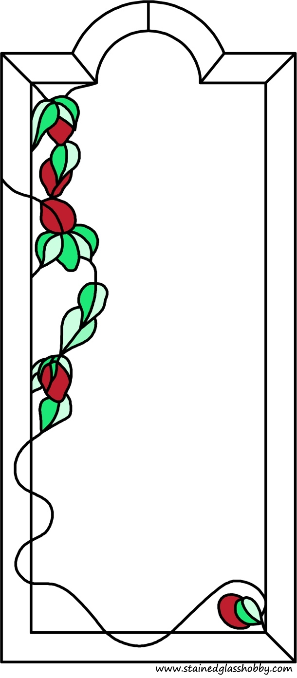 Rose and leaves panel stained glass design