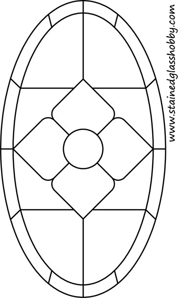 Diamond stained glass oval outline