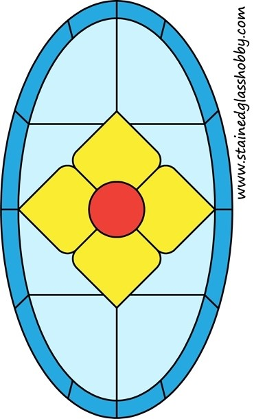 Diamond stained glass oval design