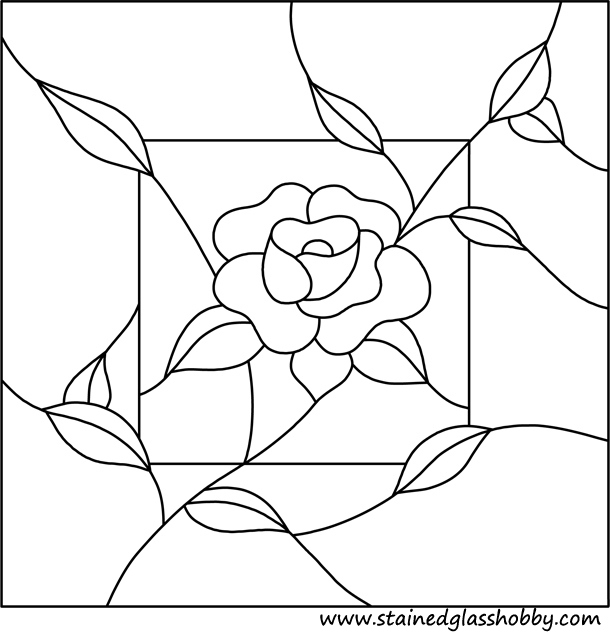 Flower panel stained glass pattern
