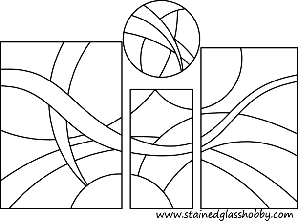 4 shapes stained glass pattern