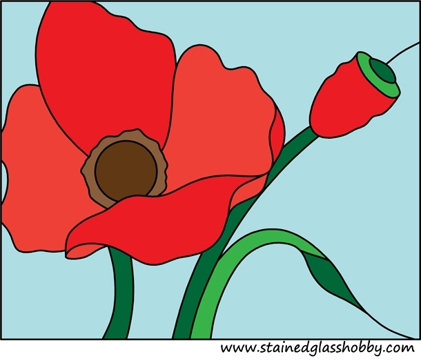 Flower poppy stained glass design
