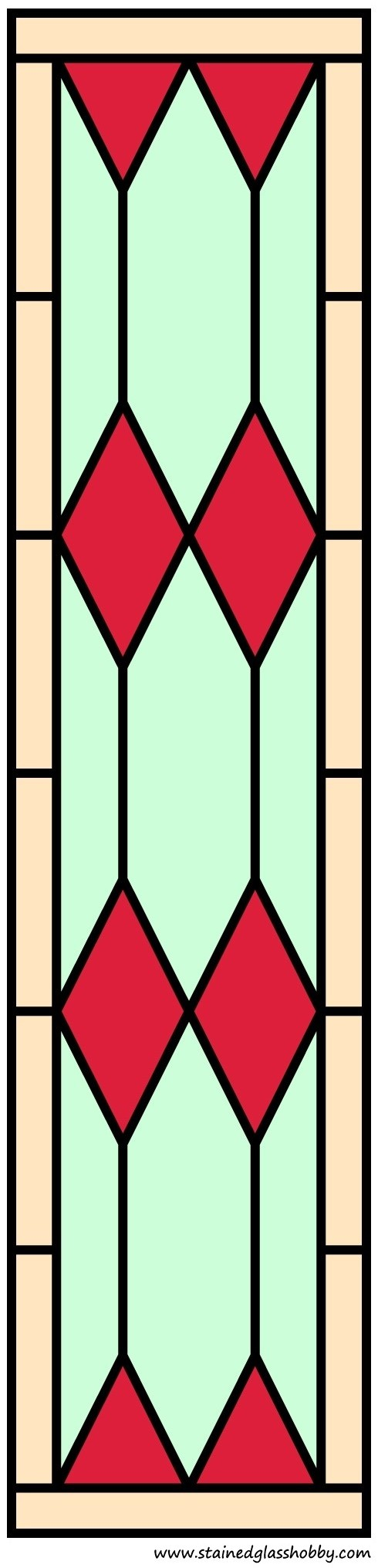 Color stained glass diamond shape panel design with border
