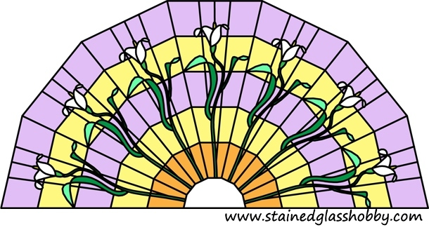 Semi-circular panel stained glass design 2