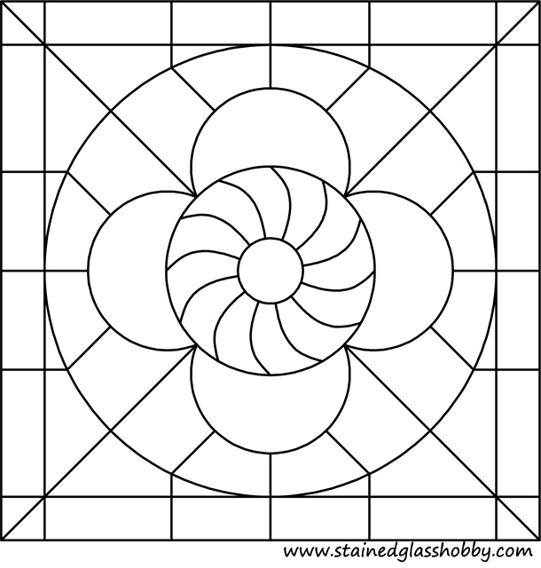 Circle in square stained glass pattern 1