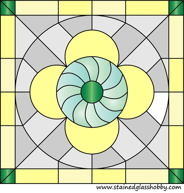 Circle in square stained glass design 1
