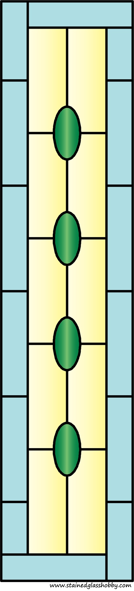 Rectangular panel for stained glass design 3