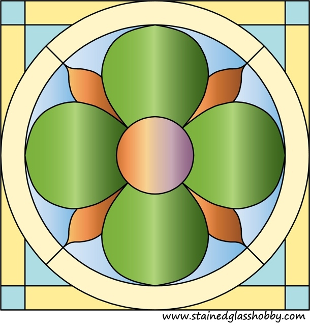Circle in square stained glass design 2