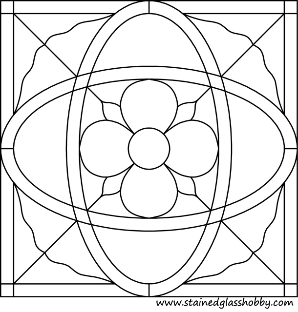 Square stained glass art pattern 1