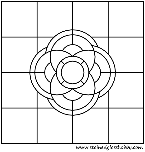 Square stained glass floral pattern outline