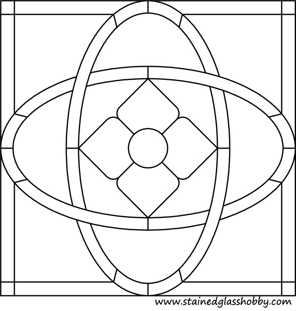 Square stained glass art pattern 2