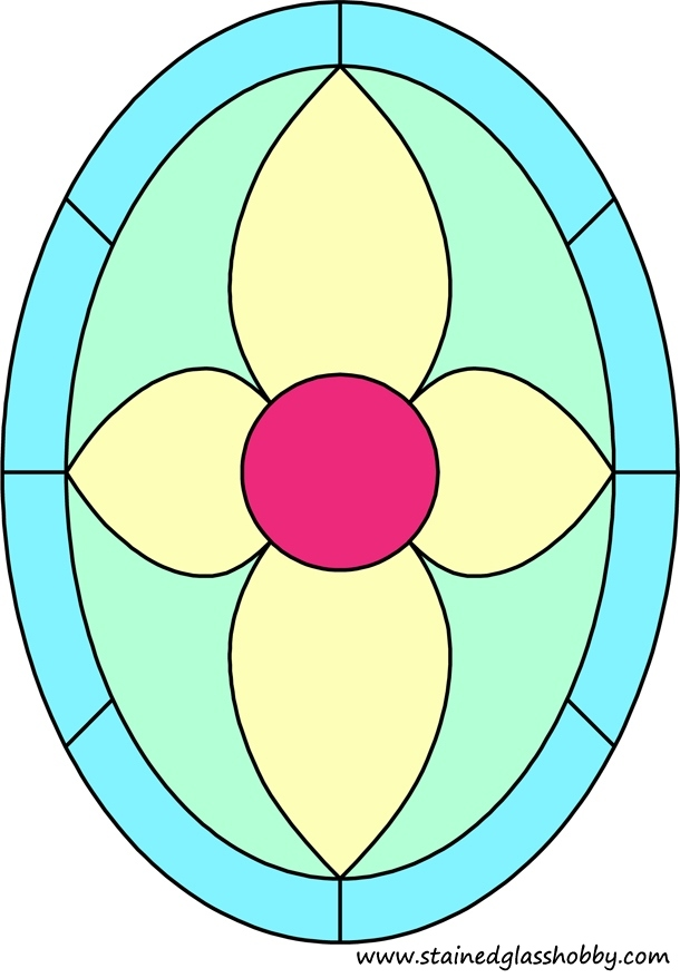 Oval stained glass design