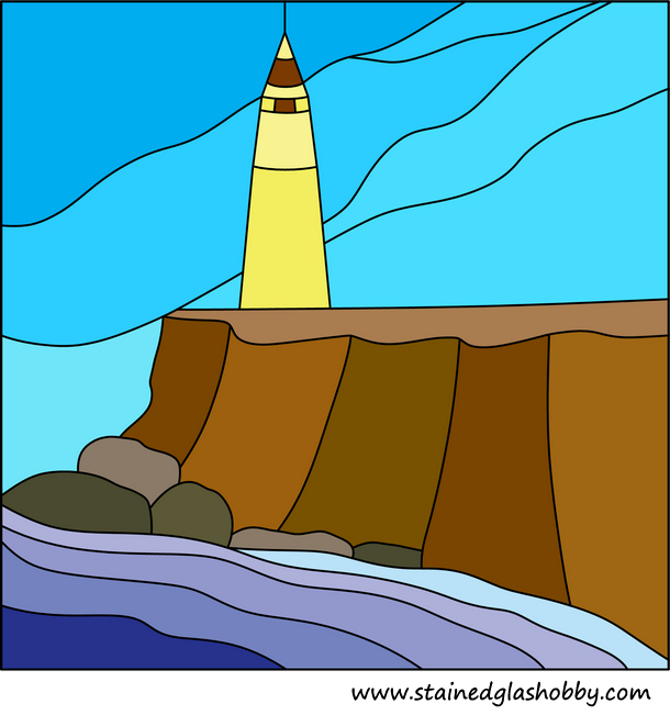 Lighthouse near sea pattern stained glass