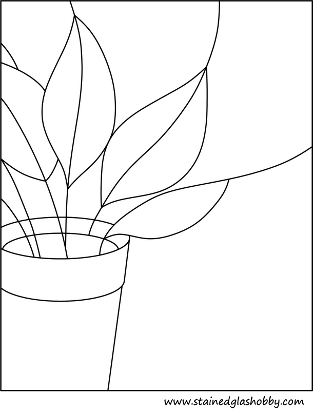 Stained glass plant outline