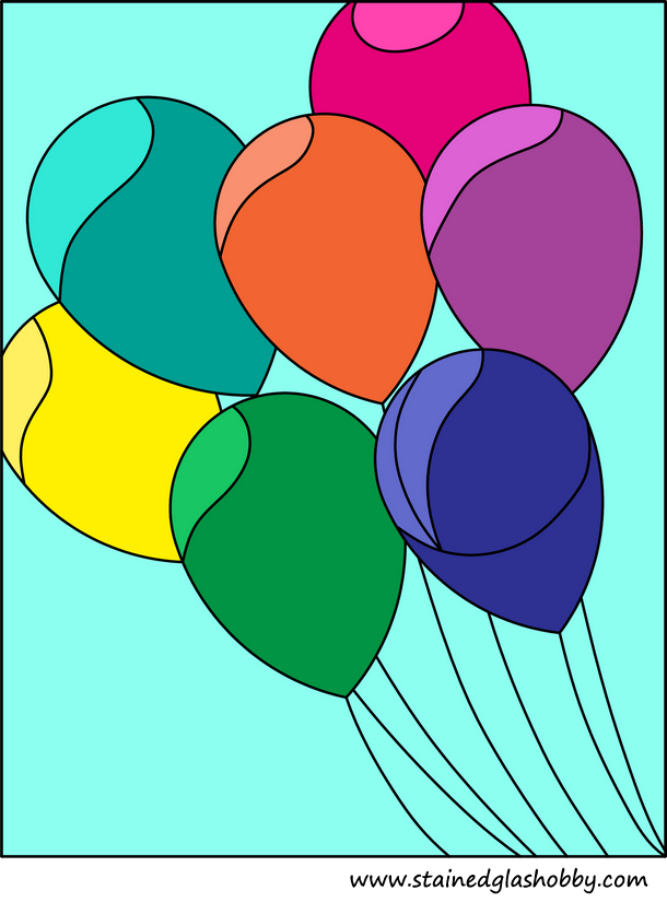 Stained glass colourfull balloons pattern