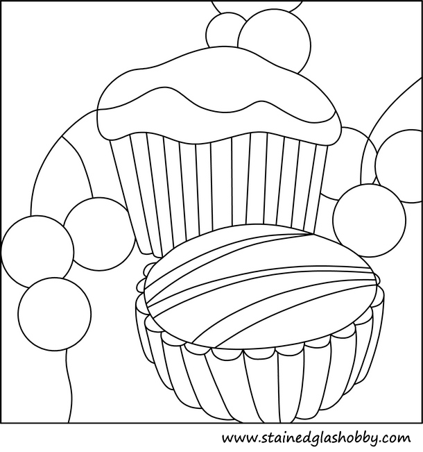 Cupcake muffin stained glass outline