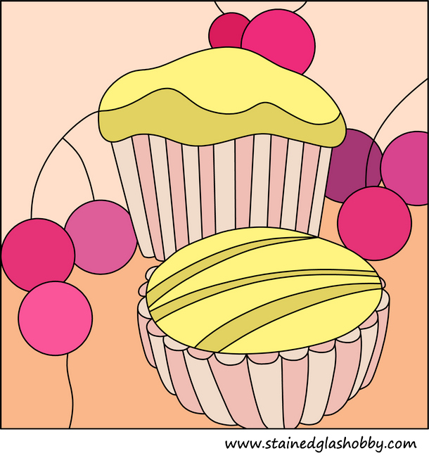Cupcake and muffin stained glass panel