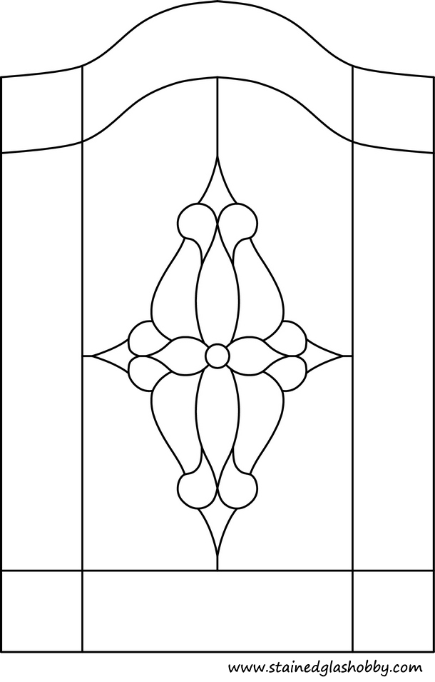 Flower stained glass outline with top arch