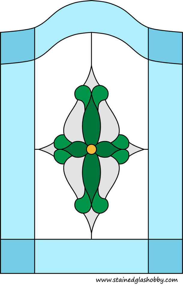 Green and blue flower stained glass design