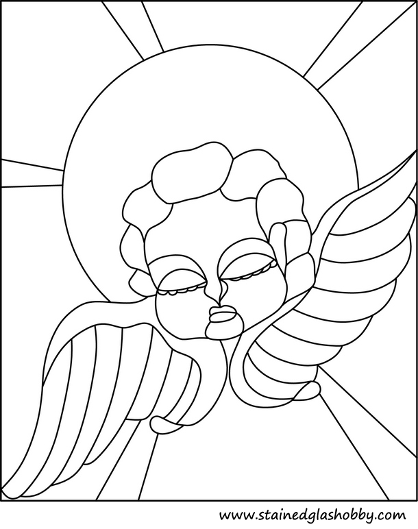 Angel with wings outline stained glass