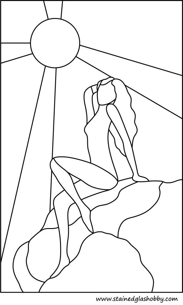 lady sunbathing outline stained glass