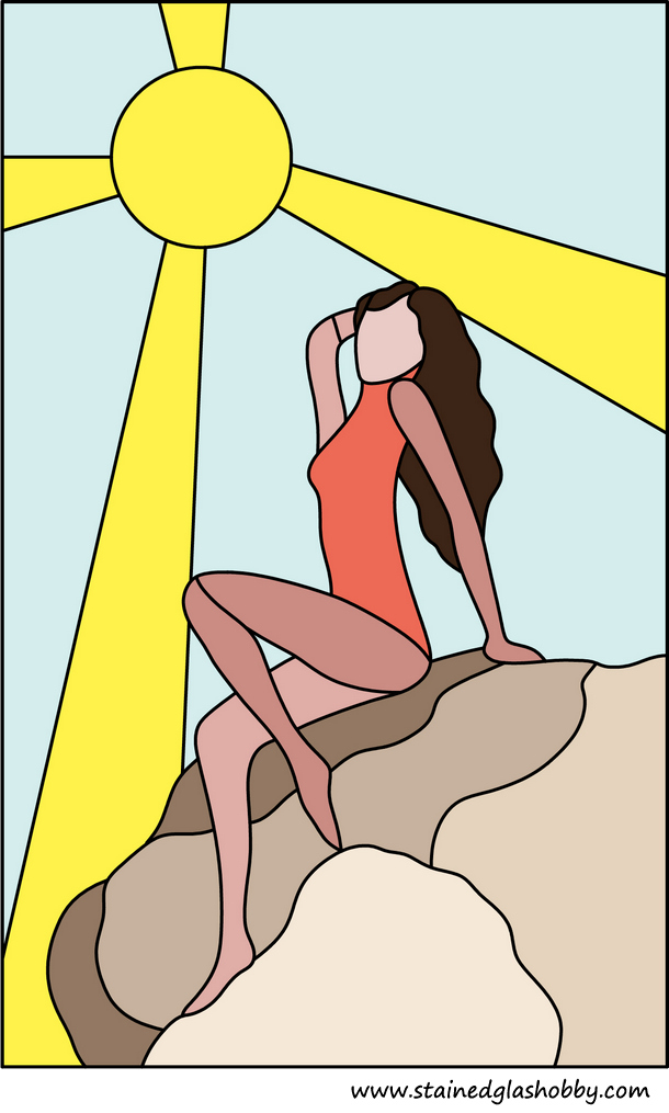 lady sunbathing in sun stained glass panel