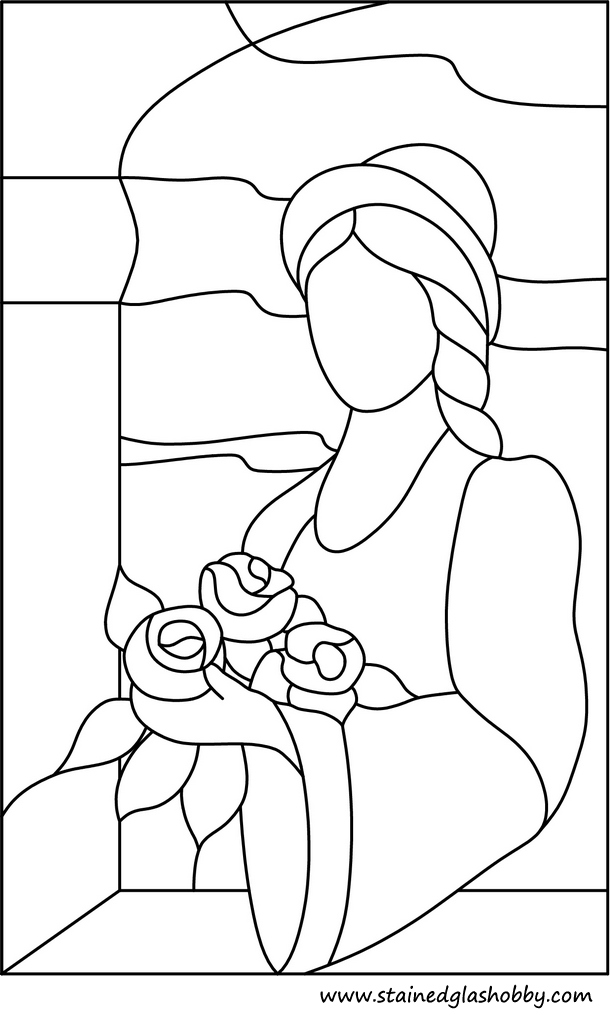 Outline lady with hat and flowers stained glass