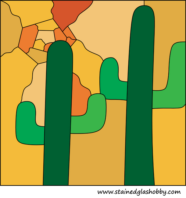Cactus stained glass pattern