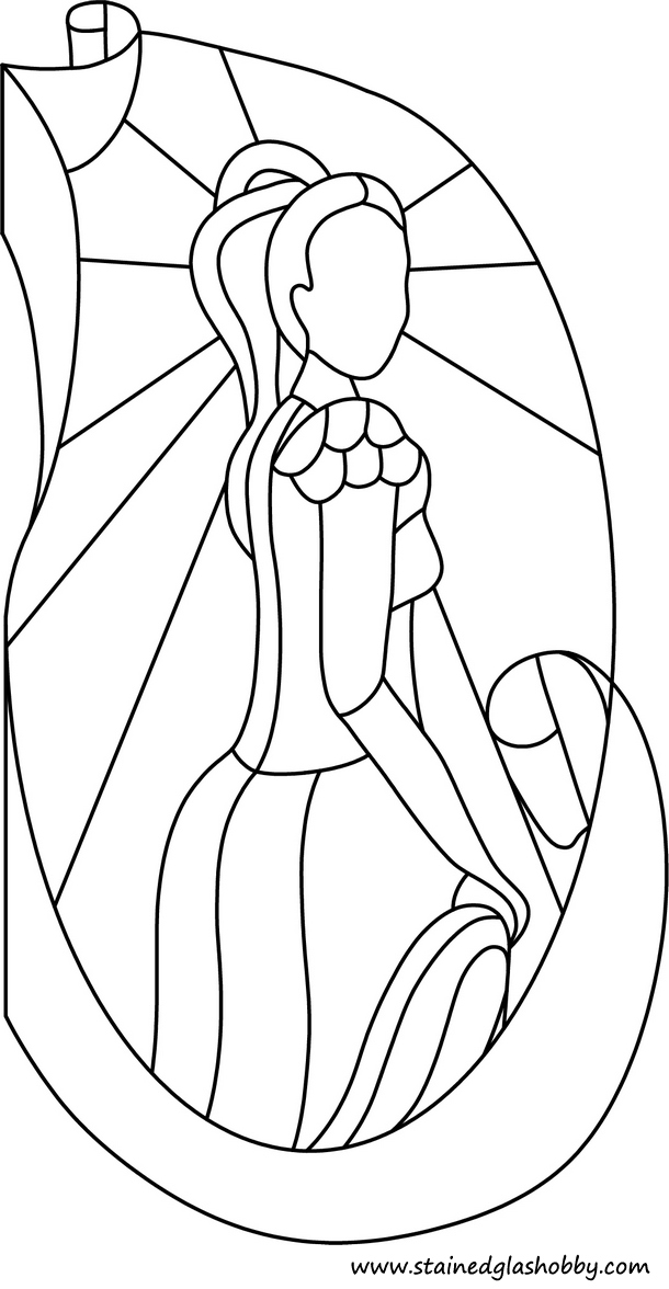 Lady stained glass design