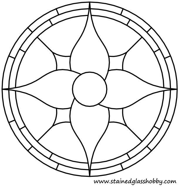 Floral round panel outline. Free stained glass pattern