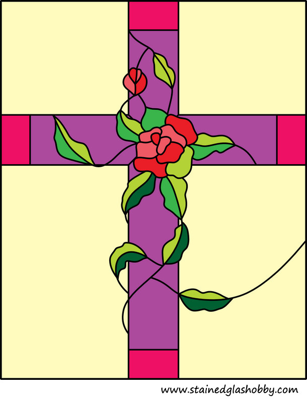 roses stained glass design