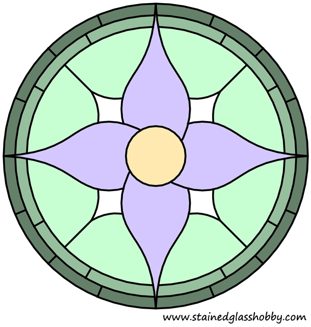 Flower round panel in color