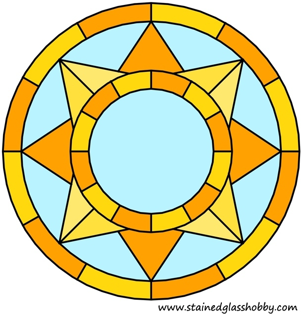 Stained glass sun design