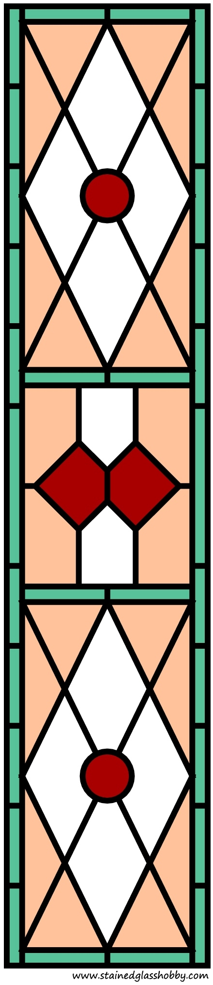 Stained glass door panel color pattern