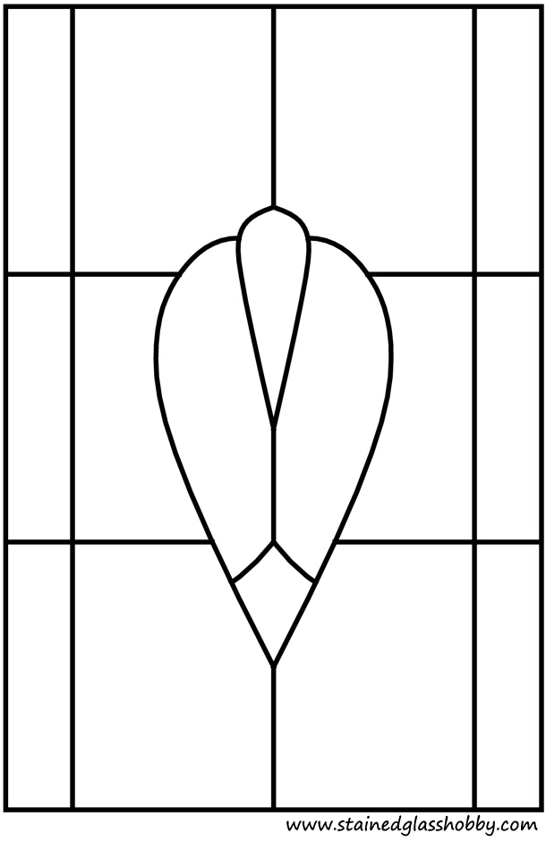 Stained glass simple window pattern outline