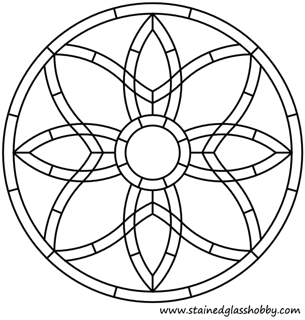 Celtic knot round panel stained glass design