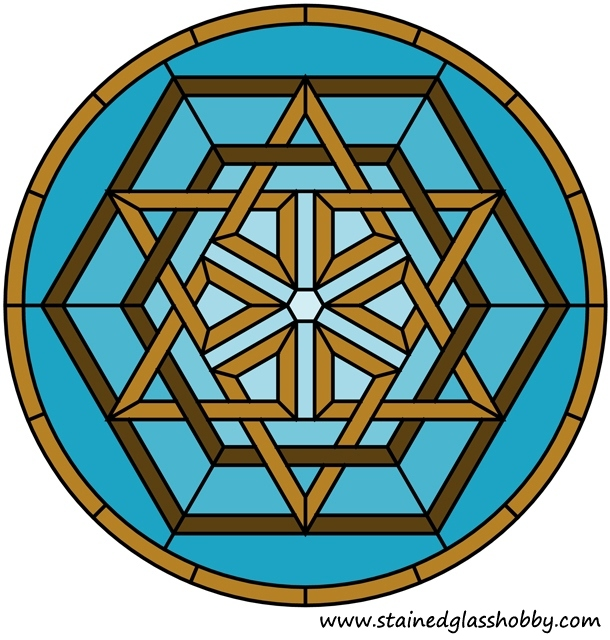Star and hexagons Celtic knot panel pattern