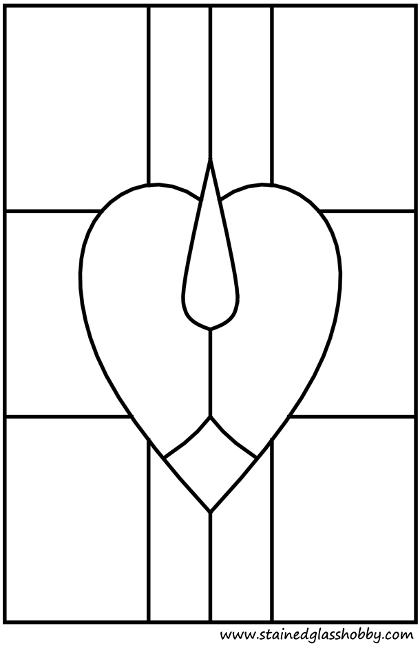 Stained glass heart shape window pattern outline