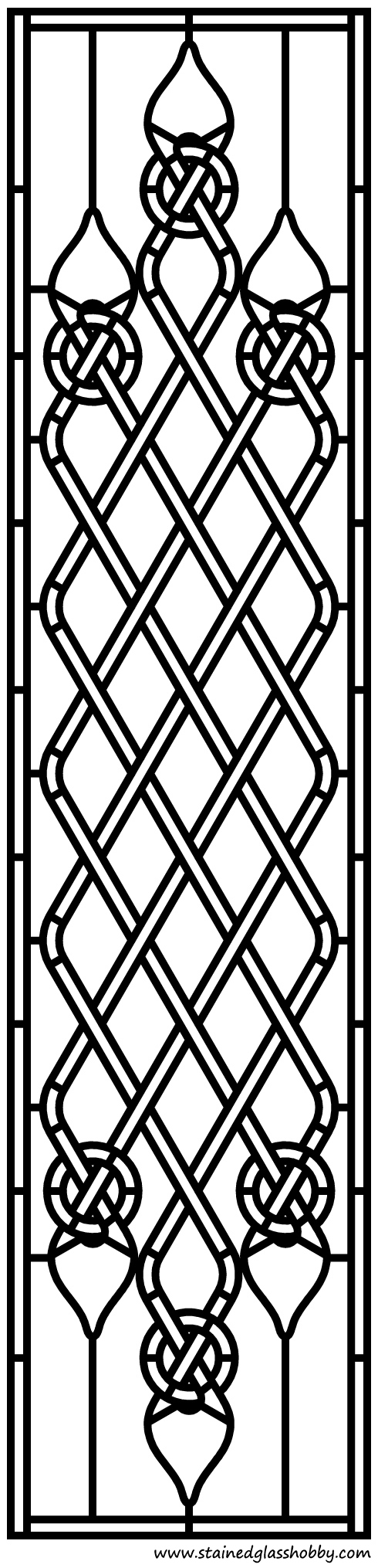 Celtic pattern stained glass design outline