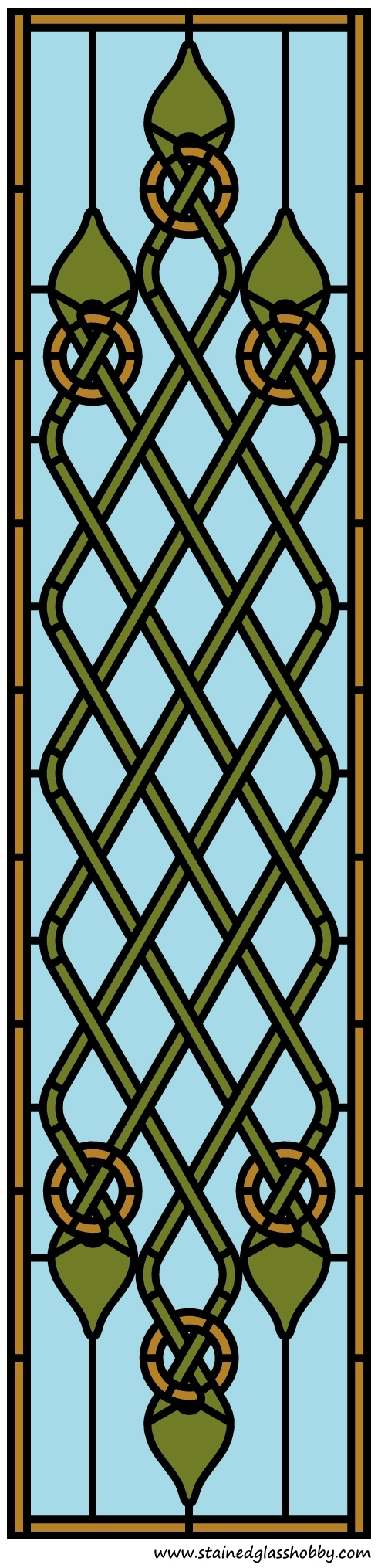 Celtic pattern stained glass panel design
