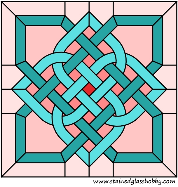 Celtic knot stained glass square pattern
