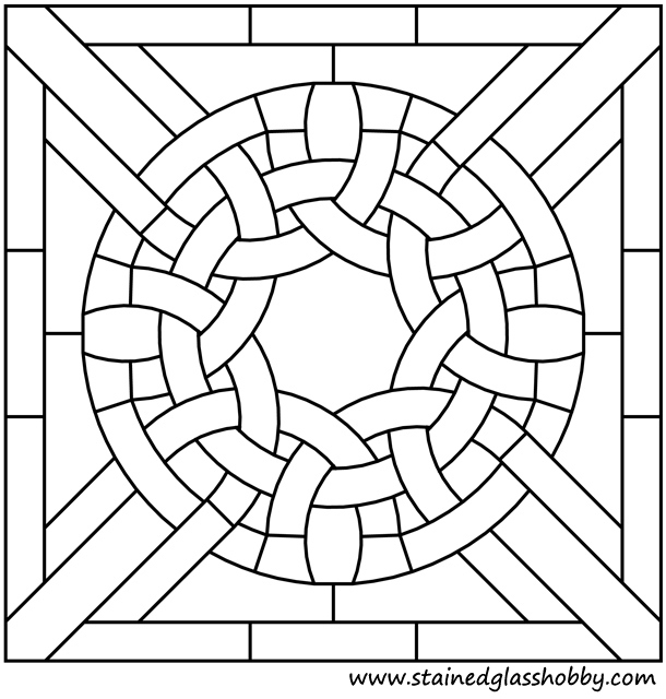 Square panel stained glass pattern