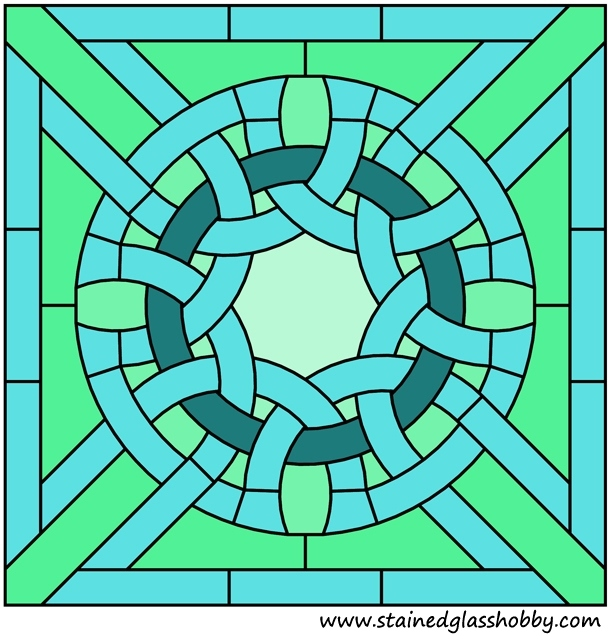 Square panel stained glass design