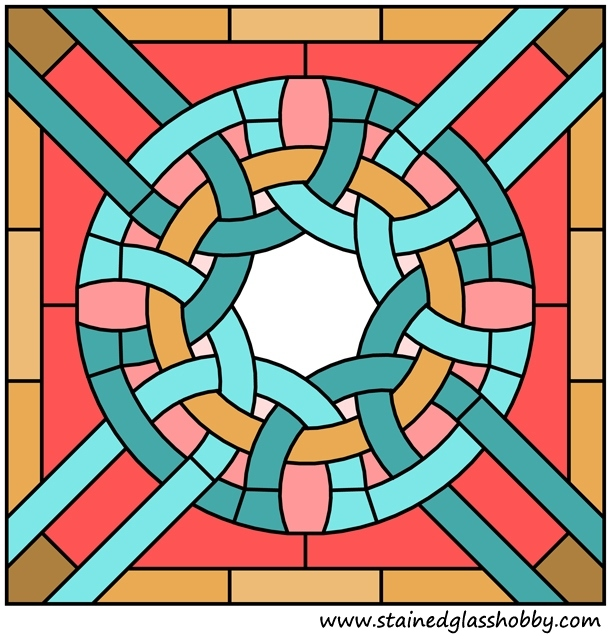Stained glass color panel pattern