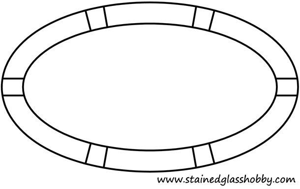 Elliptical frame stained glass pattern