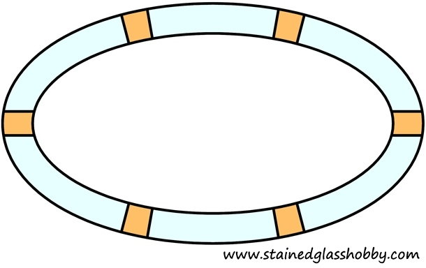Elliptical frame stained glass design