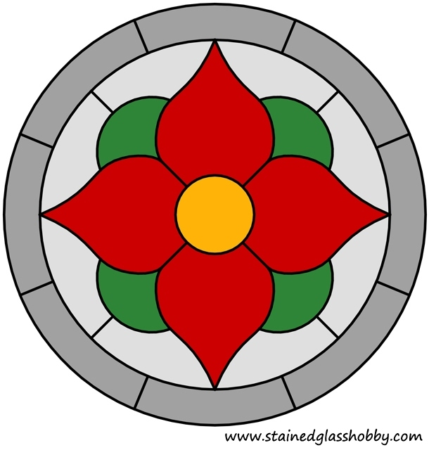 Color flower stained glass design